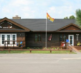 The photo shows the exterior of the Atlantic Salmon Museum